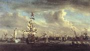 VELDE, Willem van de, the Younger The Gouden Leeuw before Amsterdam t oil painting